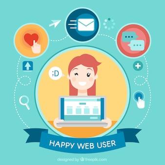 Webgebruiker met een grote glimlach