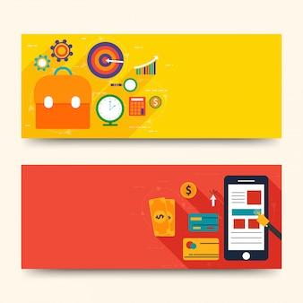 Website headers of banners ontwerpen met infographics design.