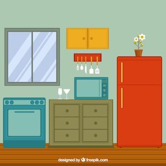 Weergave van platte keuken met koelkast en oven