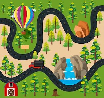 Wegkaart met vrachtwagen op de weg langs het bos