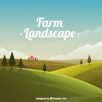 Weide landschap met schuur