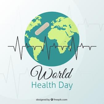 Wereld achtergrond met een band steun voor dag wereld gezondheid