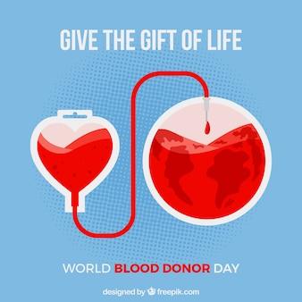 Wereld bloed donnor dag achtergrond met motievencitaat