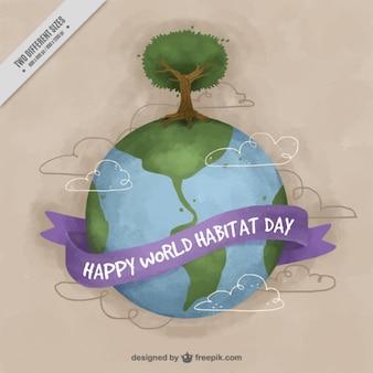 Wereld leefgebied dag aquarel achtergrond van de wereld met boom