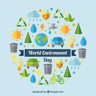 Wereld milieu dag achtergrond met elementen in plat ontwerp