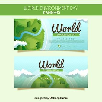Wereld milieu dag banners