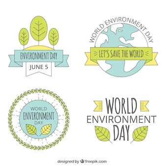 Wereld Milieu Dag etiket collectie met linten