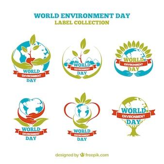 Wereld Milieu Dag labels met rode linten