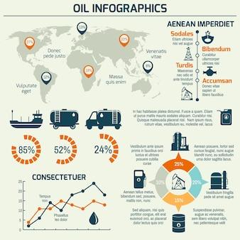 Wereld olieproductie distributie en aardolie extractie tarief business info chart diagram lay-out rapport presentatie ontwerp vector illustratie