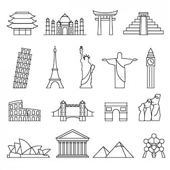Wereld oriëntatiepunten collectie