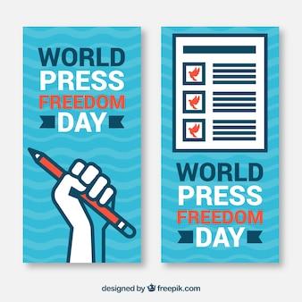 Wereld persdag vrijheid blauwe banners