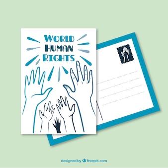 Wereld postkaart mensenrechten