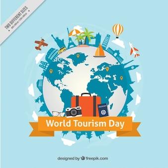 Wereld toerisme dag achtergrond met wereld en monumenten