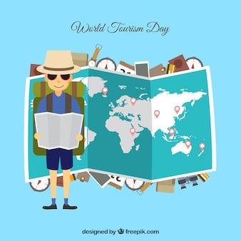 Wereld toeristische dag achtergrond met kaart