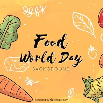 Wereld voedsel dag achtergrond in oranje