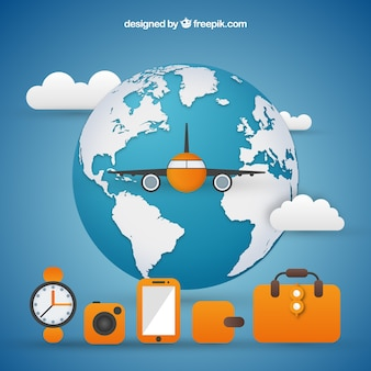 Wereldachtergrond met vliegtuig en reiselementen