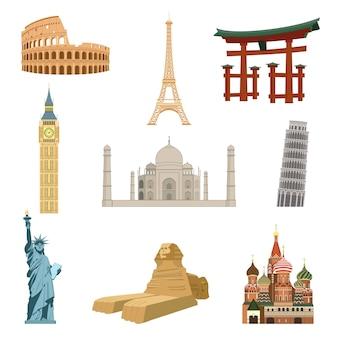 Wereldberoemde bezienswaardigheden set van eiffeltoren standbeeld van vrijheid taj mahal geïsoleerde vectorillustratie
