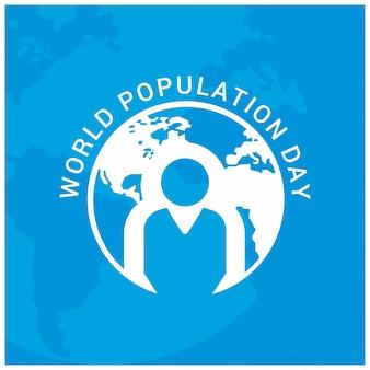 Wereldbevolkingsdag Globe Circle with people Blue Background