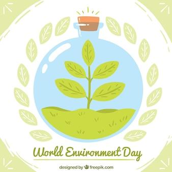 Werelddag milieu achtergrond met een boom in een fles