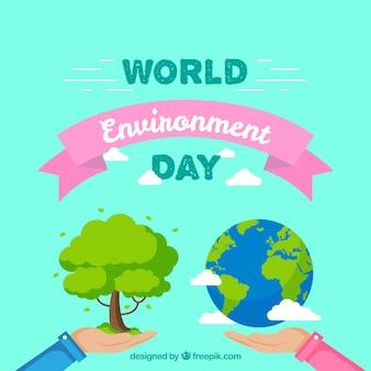 Werelddag milieu achtergrond met roze lint