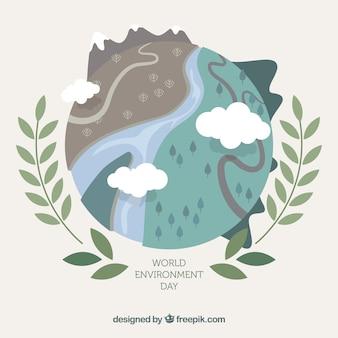 Werelddag milieu achtergrond met verschillende landschappen