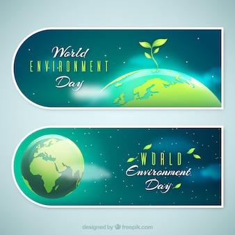 Werelddag milieu banner met planten op de top van de aarde