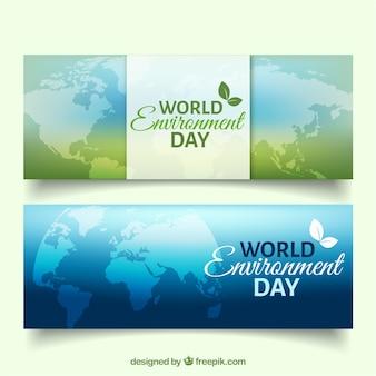 Werelddag milieu spandoeken met kaart van de wereld