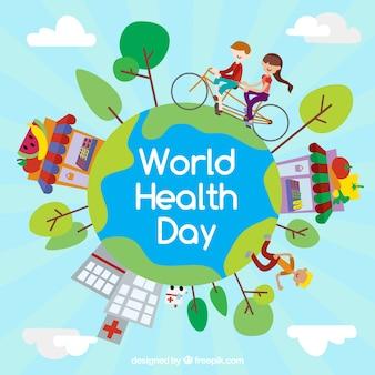 Wereldgezondheidsdag achtergrond met mensen te oefenen