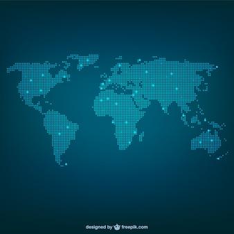 Wereldkaart gemaakt van stippen