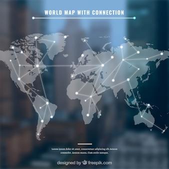Wereldkaart met conection en blauwe achtergrond