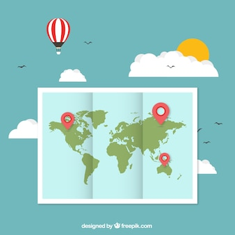 Wereldkaart met pointers
