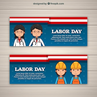 Werkdag banners met werknemers