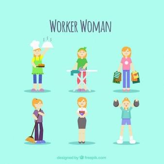 Werknemer vrouw in verschillende banen