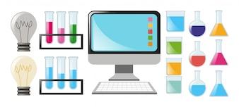 Wetenschap ingesteld met bekers en computer