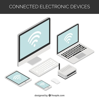 Wifi achtergrond met verschillende elektronische apparaten in isometrisch ontwerp