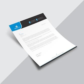 Wit bedrijfsdocument met blauwe en zwarte details