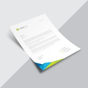 Wit zakelijk document met veelkleurige hoek