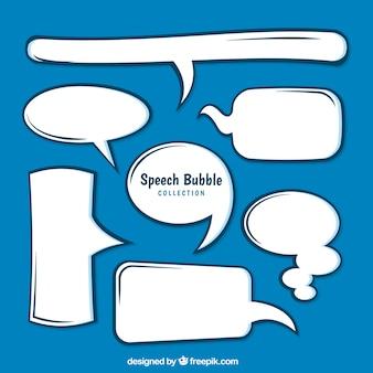 Witte handgetekende spraakbellen pakken