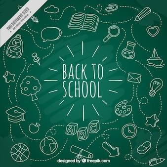 Witte school pictogrammen met bordachtergrond