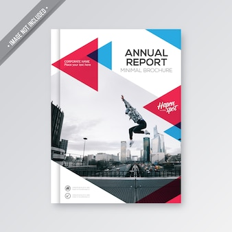 Witte zakelijke brochure met rode en blauwe details