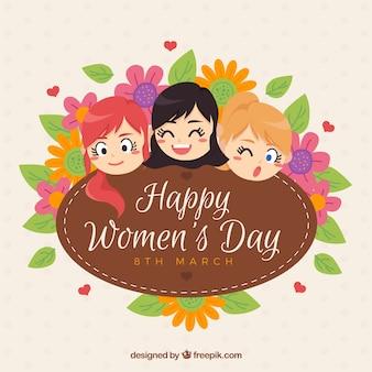 Women's Day achtergrond met lachende meisjes en bloemendecoratie