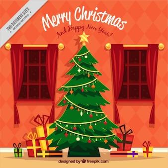 Woonkamer achtergrond met Kerst boom en geschenken