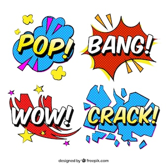 Word stickers met pop art design