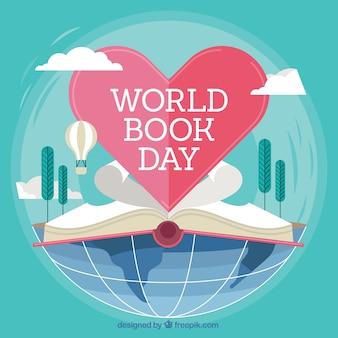 World Book Day achtergrond met open boek en hart