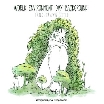 World Environment Day achtergrond in de hand getekende stijl