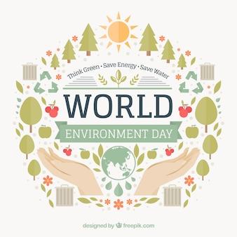World Environment Day achtergrond met handen en platte artikelen