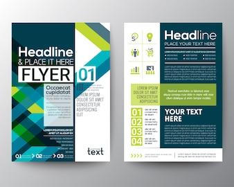 Zakelijke brochure flyer ontwerp lay-out sjabloon met abstracte groene en blauwe geometrische lijn vorm achtergrond