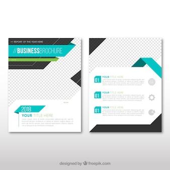 Zakelijke brochure sjabloon met blauwe elementen