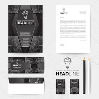 Zakelijke kantoorbehoeften zwart ontwerp