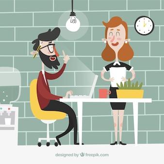 Zaken man met een goed idee tijdens het werk